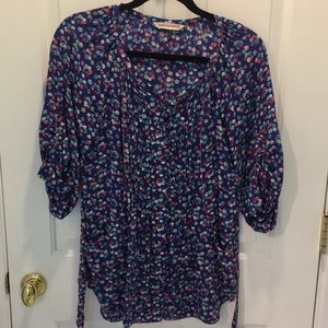 Rebecca Taylor silk blouse mini floral 0